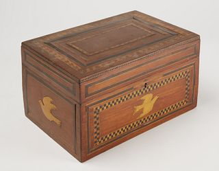 Fine Folk Art Inlaid Box with Doves