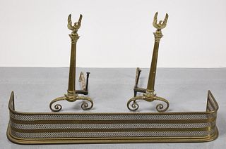 Pair of Eagle Andirons and Fender