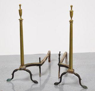 Tall Brass Andirons