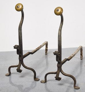 Brass and Iron Andirons