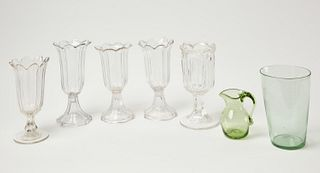 5 Pittsburgh Glass Vases, Flip Glass & others