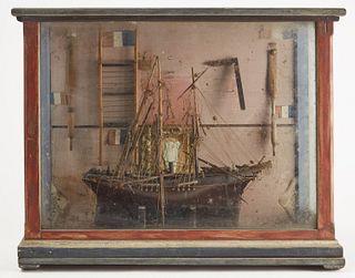Ship Model in Original Vitrine