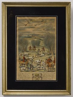 2 European Hand Colored Etchings