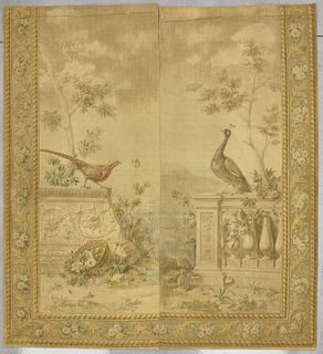 Two French Painted Panel Tapestry