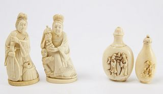 2 Chinese Carved Bone Figures & 2 Snuff Bottles