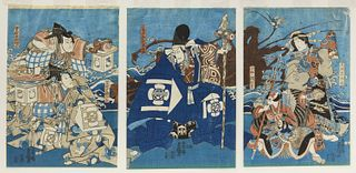 Three Early Japanese Woodblock Triptych
