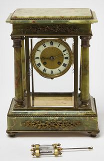 French Marble Brass Mounted Clock