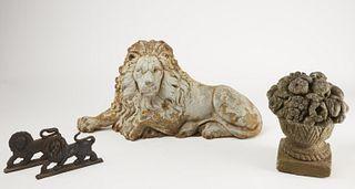 Cast Iron Lions & Cast Stone Compote
