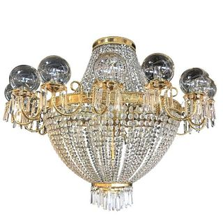 Palatial Neoclassical Brass & Crystal Chandelier