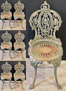 Set of Seven 19 Cent  Garden Seats. Wrought Iron