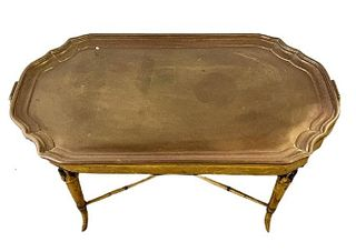 Brass Table Tray on Wood Base