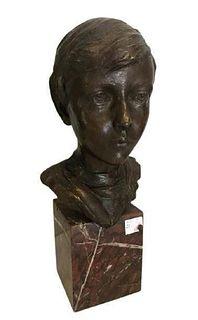 Bronze Marble Sculpture of a Boy