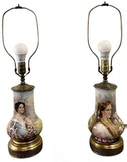 Pair of Vienna Porcelain Table Lamps. Hand Painted.