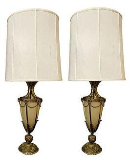 Pair Vintage Bronze Table Lamp