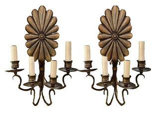 Pair of Floral Four Arm Brass Sconces