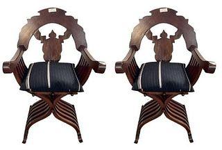 Pair Savannarola Chairs with Cushions