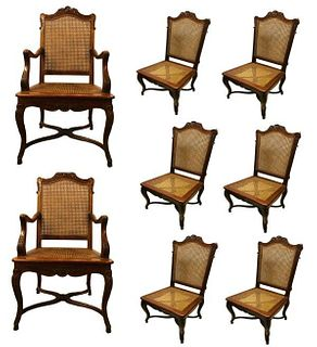 Eight French Country Dining Chairs Mortise and Tenon