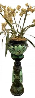 Green Majolica Plant Stand Jardiniere and Stand
