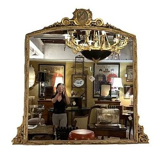 Large Impressive French Over the Mantle Mirror