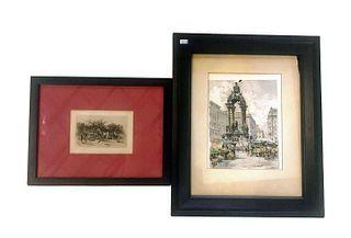 2 Framed Prints -1 Signed Hans Figura