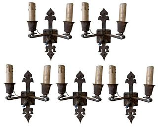 Set of 5 Iron Two Light Wall Sconces