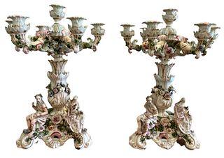Pair of Monumental Figural Meissen Dresden Candelabras