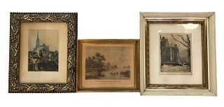 Collection of 3 Signed Prints & Color Etching