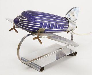 Blue Glass Airplane Lamp