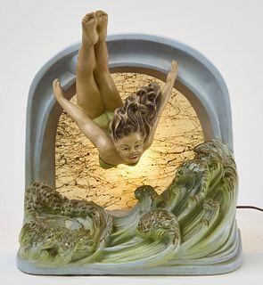 Vintage Swimmer Lamp