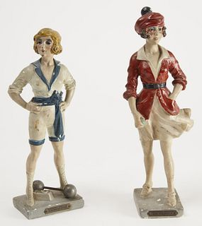 Pair of French Painted Athletic Plaster Figures