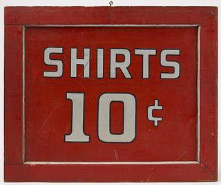 Trade Sign - Shirts 10 Cents