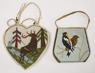 Two Pictorial Beaded Bags