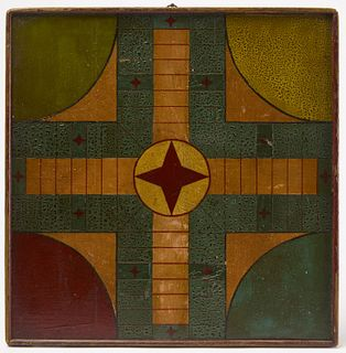 Painted Parcheesi Gameboard