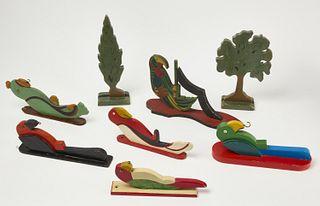 Six Folk Art Carved Parrots