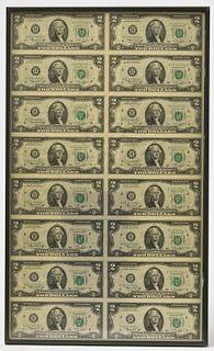 Framed Uncut Sheet of $2 Bills