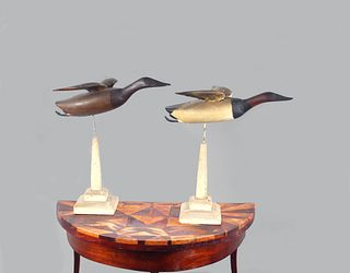 Inlaid Table and Flying Canvasback Pair, John Glenn (1876-1954)