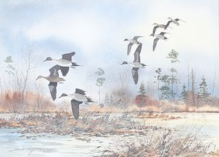 David A. Hagerbaumer (1921-2014), Pintails on a River Marsh