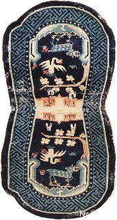 ANTIQUE CHINESE SADDLE RUG. 4 ft 3 in x 2 ft 3 in (1.3 m x 0.69 m).
