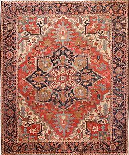 ANTIQUE PERSIAN SERPAI CARPET. 11 ft 8 in x 9 ft 6 in (3.56 m x 2.9 m)