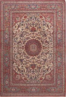 ANTIQUE SILK + WOOL PERSIAN ISFAHAN RUG. 12 ft 1 in x 8 ft 4 in (3.68 m x 2.54 m )