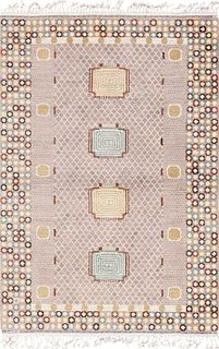 VINTAGE SWEDISH PILE RUG. 7 ft 3 in x 5 ft 1 in (2.21 m x 1.55 m).