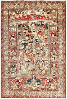ANTIQUE MASHAHIR PERSIAN 'LEADERS OF THE WORLD' PICTORIAL KERMAN CARPET. 10 ft 6 in x 7 ft 1 in (3.2 m x 2.16 m).