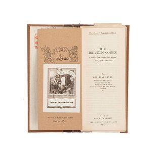 Gates, William. The Dresden Codex. Baltimore:The Maya Society...,1932. Ejemplar no. 13. Texto y facsimilar en carpeta.