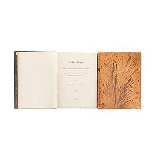 Seler, Georg Eduard. Codex Borgia. Eine Altmexikanische Bilderschrift der Bibliothek der Congregatio, 1904-09... Tomos I-III. Piezas: 2