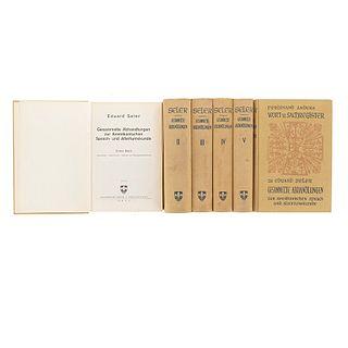 Seler, Eduard. Gesammelte Abhandlungen zur Amerikanischen / Sachregister. Graz, Austria, 1960 - 1967. Tomos I - V e Índice. Pzas: 6.
