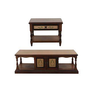 Mesa de centro y mesa lateral. SXX. En madera entintada. Marca Alejandro Rangel Hidalgo. 48 x 154 x 54 cm (mayor) Piezas