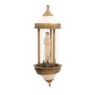 Lámpara de aceite. SXX. En resina y latón. Decorada con elementos vegetales, figura de dama neoclásica y esmalte dorado. 80 cm altura