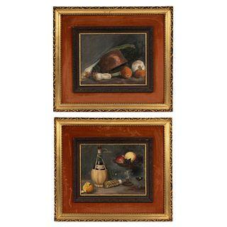 D´LEAL. Lote de 2 obras pictóricas. Bodegones. Óleo sobre tela. Enmarcados. 34 x 43 cm Detalles de conservación