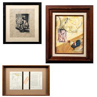 Lote de 3 obras pictóricas.  Consta de : a)JAIME CABRERA LIÉVANO.  Mujer asomada en ventana y gallo. Óleo sobre tela. Enmarcado....