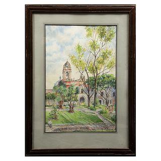 M.E. PIÑA. Vista de iglesia. Firmada y fechada 79. Acuarela. Enmarcada. 54 x 36 cm.